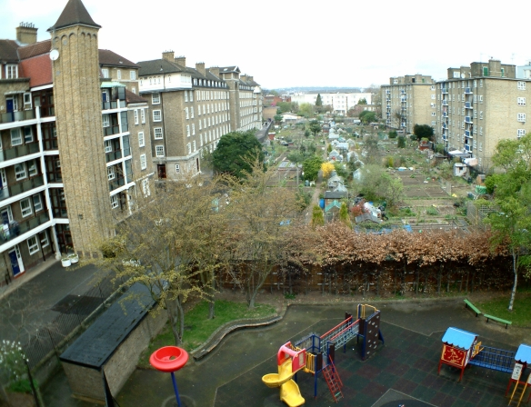 Current view of playground and allotments on the site of the old Cumberland Basin