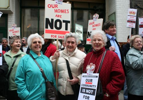 Demonstration outside the Crown Estate head office