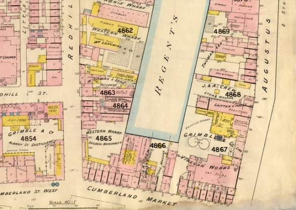 1891 plan of the wharves and factories were situated on the site of where Ascot House, Datchet House and Windsor House are today